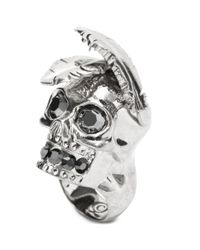 Alexander McQueen - Metallic Feather Skull Ring - Lyst