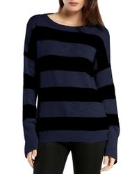 Michael Stars | Blue Side Zip Stripe Boatneck Top | Lyst