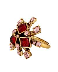 Oscar de la Renta | Red Starburst Resin And Crystal Ring | Lyst