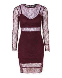 TOPSHOP | Purple Lace Bodycon Dress | Lyst