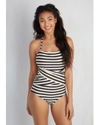 Downeast Basics - Multicolor Down For A Dip One-piece Swimsuit In Black And White - Lyst