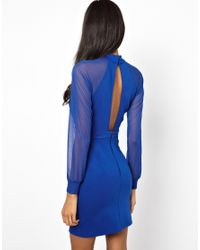 ASOS - Blue Ruched Bodycon Dress With Keyhole Detail - Lyst