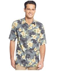 Tommy Bahama | Gray Big And Tall Short Sleeve Beach Front Hibiscus Shirt for Men | Lyst