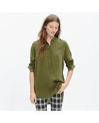 Madewell - Green Silk Cinema Popover Shirt - Lyst