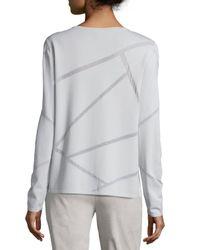 Lafayette 148 New York - White Long-sleeve Mosaic Intarsia Sweater - Lyst