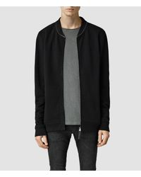 AllSaints - Black Mevens Funnel Neck Sweatshirt for Men - Lyst