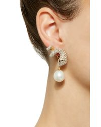 Gioia - White Gold And Diamond Serpent Earrings With Pearl Drop - Lyst