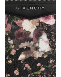 Givenchy - Black Antigona Pouch in Floralprint Faux Leather - Lyst
