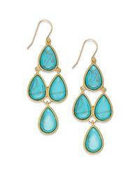 Lauren by Ralph Lauren - Blue Goldtone Bezelset Stone Teardrop Chandelier Earrings - Lyst