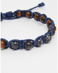Icon Brand - Blue Damn Beaded Cord Bracelet for Men - Lyst