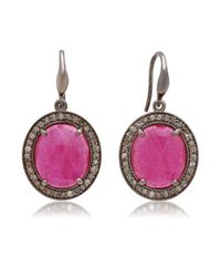 Bavna - Red Sterling Silver Ruby And Diamond Drop Earring - Lyst