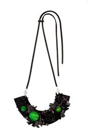 Marni | Black Floral-motif Horn Necklace - For Women | Lyst