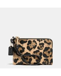 COACH | Multicolor Corner Zip Wallet In Wild Beast Print Leather | Lyst
