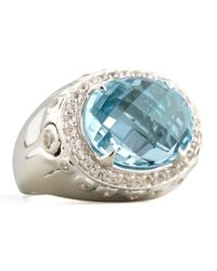 John Hardy - Metallic Batu Bamboo Small Blue Topaz Oval Ring - Lyst