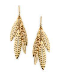 Rebecca Minkoff | Metallic Leaf Chandelier Earring | Lyst