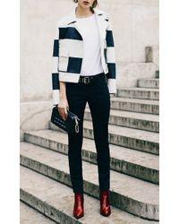 Sonia Rykiel - Blue Sonia By Striped Leather Jacket - Lyst