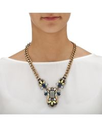 Palmbeach Jewelry - Gray Grey And Blue Crystal And Lucite Multi-shaped Necklace With Curb-link Chain In Gold Tone - Lyst