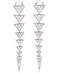 Nikos Koulis | Metallic Long Triangle Drop Diamond Earrings | Lyst