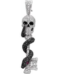 Theo Fennell | Skeleton Key 18Ct White-Gold, Diamond, Black Diamond And Ruby Pendant - For Women | Lyst