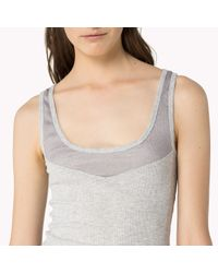 Tommy Hilfiger - Gray Cotton Stretch Mesh Tank Top - Lyst