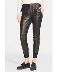 Vince - Black Belted Leather Jogger Pants - Lyst