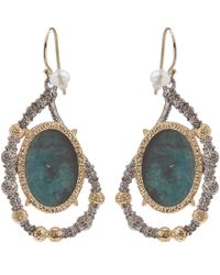 Alexis Bittar | Metallic Crystal Embellished Rose Cut Chrysocolla Drop Earrings | Lyst