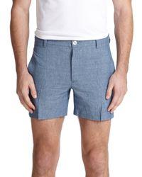 Maison Kitsuné - Blue Bermuda Linen & Wool Shorts for Men - Lyst