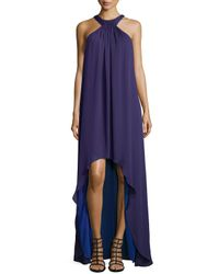 Halston - Purple Halter-style High-low Gown - Lyst