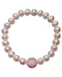 Macy's - Pink Cultured Freshwater Pearl (8-9mm) And Pink Crystal Bead Bracelet - Lyst