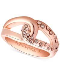 Tahari - Pink T Rose Gold-Tone And Crystal Knot Band Ring - Lyst