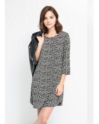 Mango - Black Printed Shift Dress - Lyst