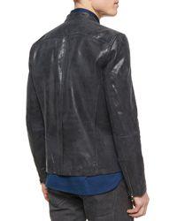John Varvatos | Black Leather Moto Racer Jacket for Men | Lyst