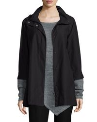 Eileen Fisher | Black Ako Cotton-Blend Hooded Jacket | Lyst
