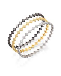 Freida Rothman | Metallic Diamond-Shaped Station Pavã© Bangle Bracelet Set | Lyst