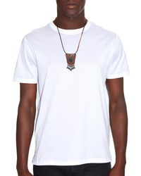 Saint Laurent - Brown Pierre Jet-Stone And Leather Necklace for Men - Lyst