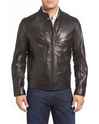 Andrew Marc | Black Windsor Leather Racer Jacket for Men | Lyst