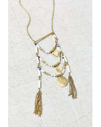 Urban Outfitters - Metallic Layered Bead Pendant Necklace - Lyst