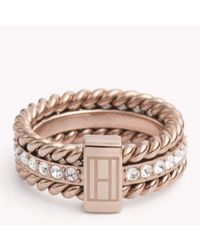 Tommy Hilfiger | Pink Rope And Stone Ring | Lyst