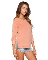 RVCA - Pink Embroidered Acid Wash Sweater - Lyst