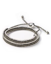 Links of London - Metallic Double Wrap Gold And Black Friendship Bracelet - Lyst
