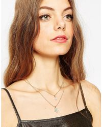 ASOS | Metallic Double Stone Multirow Necklace | Lyst