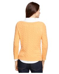 Brooks Brothers - Orange Cashmere Cable Boatneck Sweater - Lyst