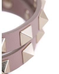 Valentino | Gray 'Rockstud' Double Wrap Bracelet | Lyst