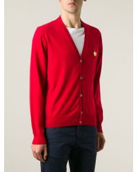 AMI | Red Smiley Face Patch Cardigan for Men | Lyst
