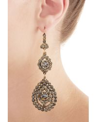 Alberta Ferretti - Metallic Embellished Chandelier Earrings - Blue - Lyst