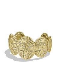 David Yurman | Metallic Cable Coil Cuff Bracelet With Diamonds In Gold | Lyst