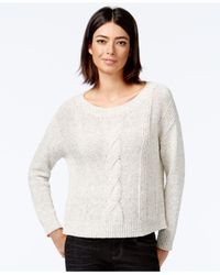 Eileen Fisher | White Cable-knit Boxy Sweater | Lyst