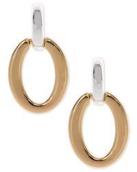 Nine West - Metallic Two-tone Oval Drop Earrings - Lyst