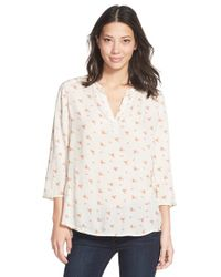 Caslon | White Raw Edge Trim Print Split Neck Blouse | Lyst