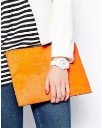 Oasis - Ladies Whitestone Set Plastic Watch - Lyst
